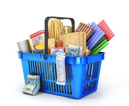 Shopping basket full of construction materials on a white background. 3d illustration Фото со стока