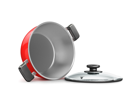 stainless saucepan with a scream. 3d illustration Stock Photo
