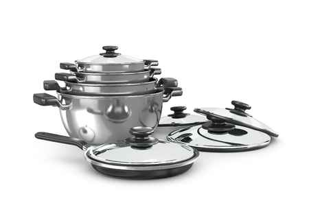 set of saucepans isolated on white background. 3d illustration