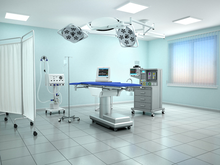 Interior view of the operating room in blue tone. 3d illustration Stock Photo