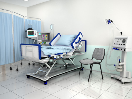 The interior of the hospital room. 3d illustration Standard-Bild