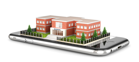building of a comprehensive school. The exterior of the school building is located on the mobile phone. 3d illustration Stock Photo