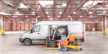 Warehouse transport. Car for delivery with forklift, trolley, manual forklift in the warehouse. 3d illustration Stock Photo