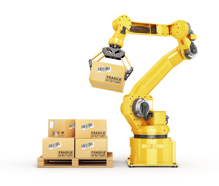 Factory manipulator. Automatic hand hold the cardboard box above conveyor. 3d illustration