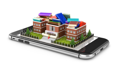 Concept of online learning. The school filled with books is placed on the phone. 3d illustration