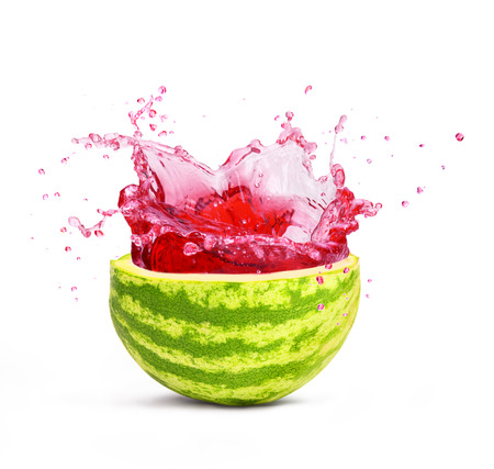cut watermelon with splash, isolated on white background