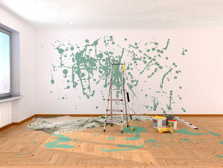 Repair in the room. Painting in green color. 3d illustration Reklamní fotografie