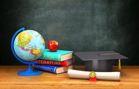 books, globe, diploma, apple, academic cap lie on a wooden table on the background of the board. 3d illustration