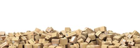 Logistic concept. Big pile of cardboard boxes. 3d illustration Archivio Fotografico