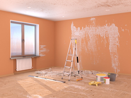 Repair in the room. Painting and plastering of walls. 3d illustration Archivio Fotografico - 95013260