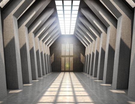 large room with concrete walls at the top of the window letting light into the room. 3d illustration