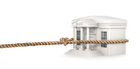 concept of attracting money. The rope is attracted by the bank building. 3d illustration