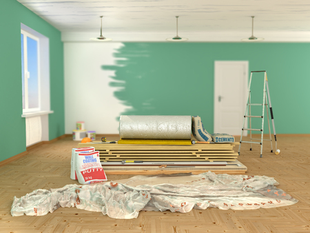 building materials indoors. 3d illustration