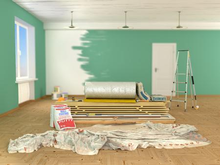building materials indoors. 3d illustration