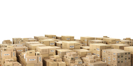 Logistic concept. Big stacks of cardboard boxes. 3d illustration