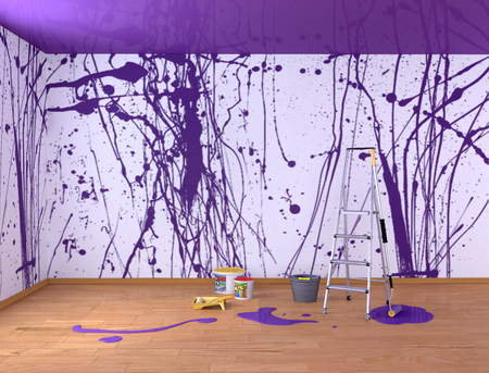 The painting in the room is purple. Spray paints. 3d illustration