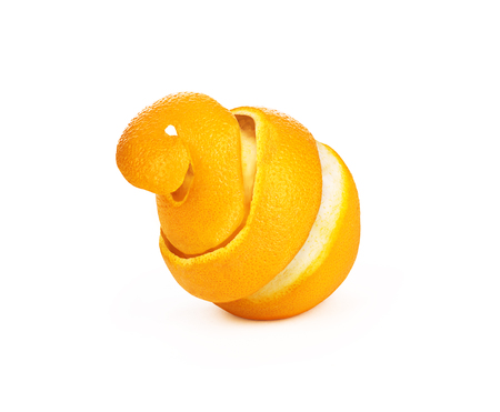 peeled orange peel in a spiral isolated on a white background