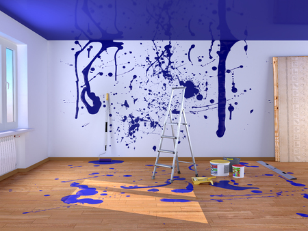 Repair in the room. Spray paints. 3d illustration