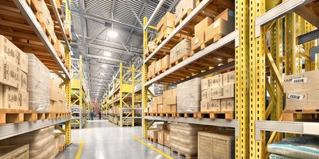 Empty warehouse full of cargo. 3d illustration Stock Photo