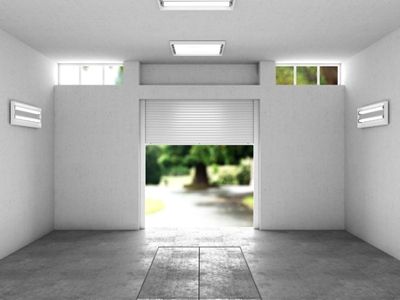 open garage with a view to the street. 3D illustration Archivio Fotografico
