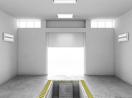 Interior of an empty garage, with an open repair pit. 3d illustration