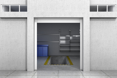 open garage. 3d illustration