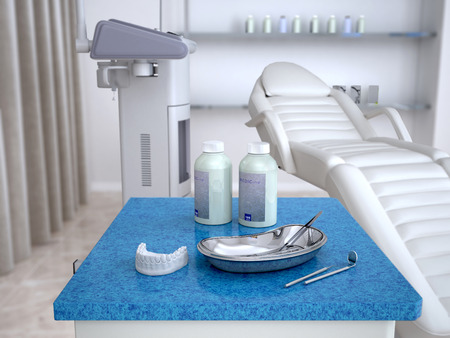 cast of teeth and dentist tools in the foreground. 3d illustration