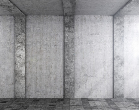Concrete wall with columns. Light falling on the wall. 3d illustration