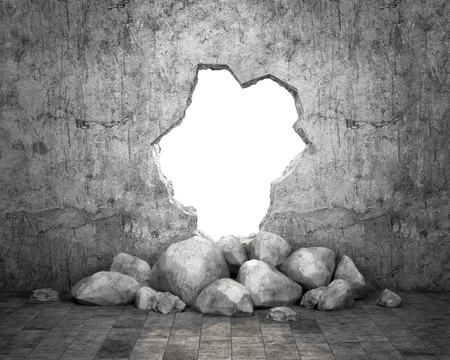 Destroyed wall of concrete structure. Concept of escape to freedom. 3d, illustration
