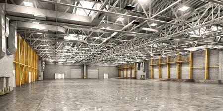 Empty warehouse. 3d illustration Banco de Imagens