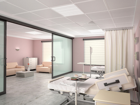 Hospital room with a bed and with room to visit. 3d illustration Banco de Imagens