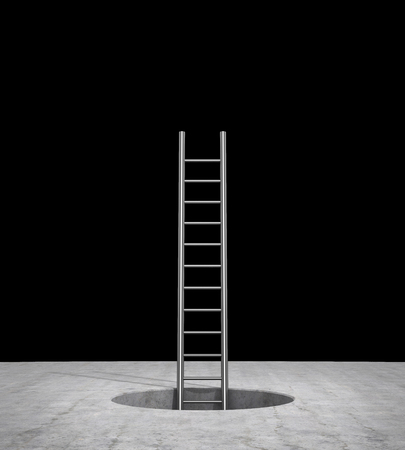 ladder that emerges from the hole and leads to the top, on a black background. 3d illustration