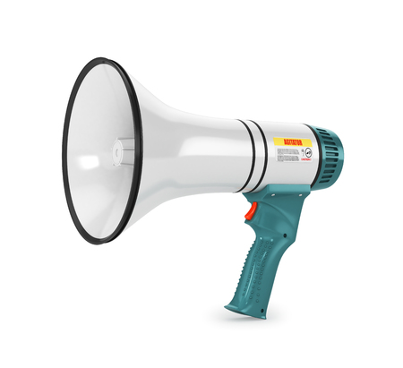 Close up of a bullhorn, megaphone isolated on white background. 3d illustration