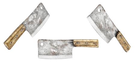 Meat knife. Vintage Butcher meat cleavers on a white background. 3d illustration