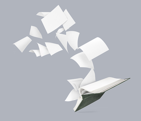 An empty book with flying pages isolated on a gray background Stock Photo
