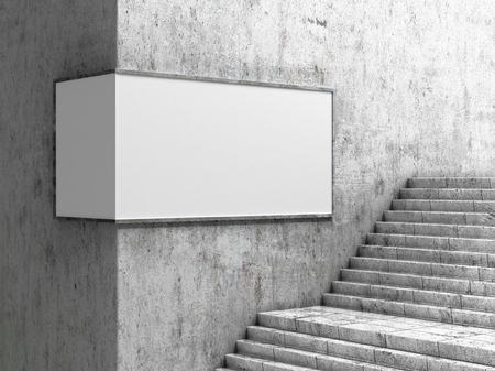 Empty billboard, located in the underground hall, next to the steps. 3d illustration