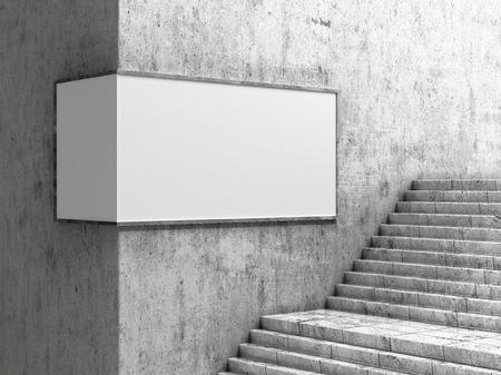 Pusty billboard, znajdujący się w holu podziemnym, obok schodów. Ilustracja 3D