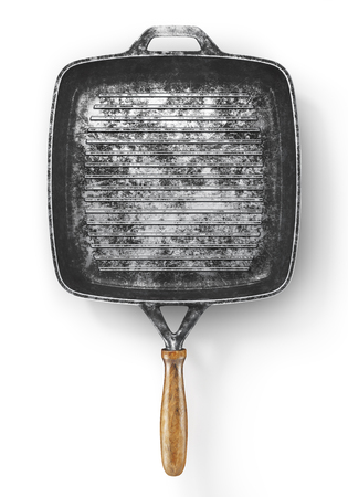 Vintage grill pan on a white background. Old dripping pan. 3d illustration