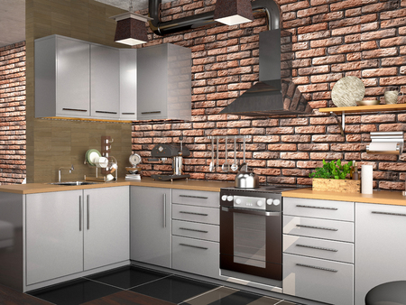 kitchen design in loft style. 3d illustration Imagens - 95013618