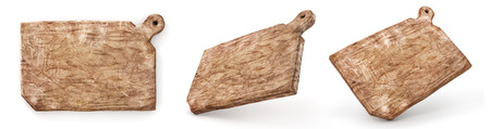 Old cook board. Set of Vintage cutting board on a white background. 3d illustration Stock Photo