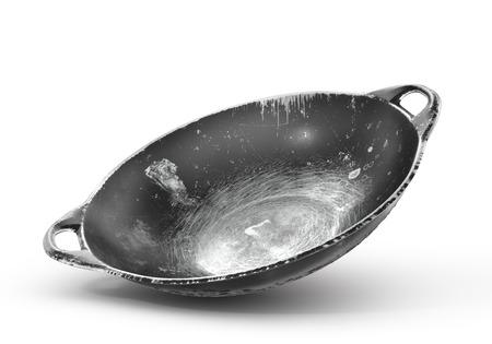 Poêle wok vintage isolé sur un fond blanc. illustration 3d Banque d'images - 95013636