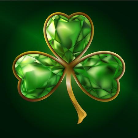Clover. Jewelry. Bijou. St. Patricks Day illustration.