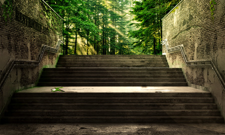 Success concept. Front view from the gray stairs to the morning forest. Concept of success. Banque d'images - 96635555