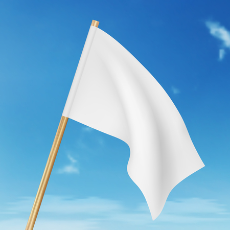Vector blank white flying flag on a clear sky Vetores