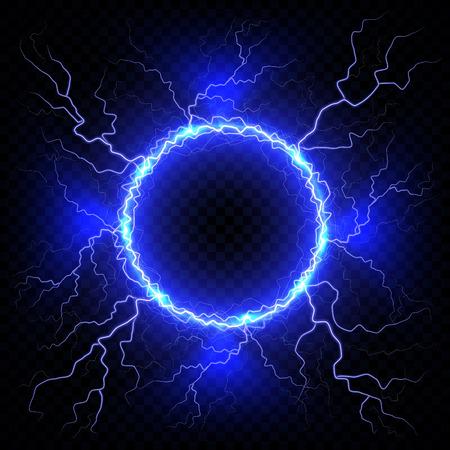 Electric flash of lightning on a dark transparent background. Vector circle lightning