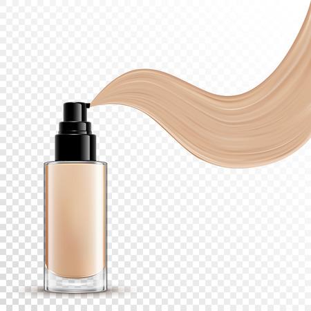 Cosmetic liquid foundation for makeup on transparent background Illustration