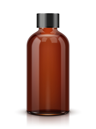 Brown Cosmetic Bottle on white background.