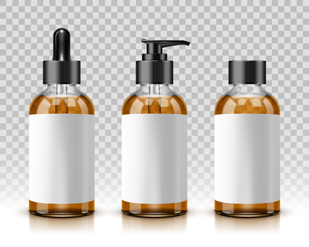 Cosmetic bottles isolated on transparent background