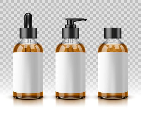 Bottiglie cosmetiche isolate su fondo trasparente