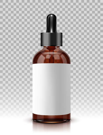 Realistic vector glass bottle with dropper for cosmetics and medicines Çizim